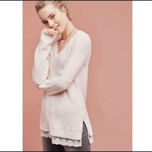 Anthro Knitted&Knotted Lace Hem Ivory Sweater